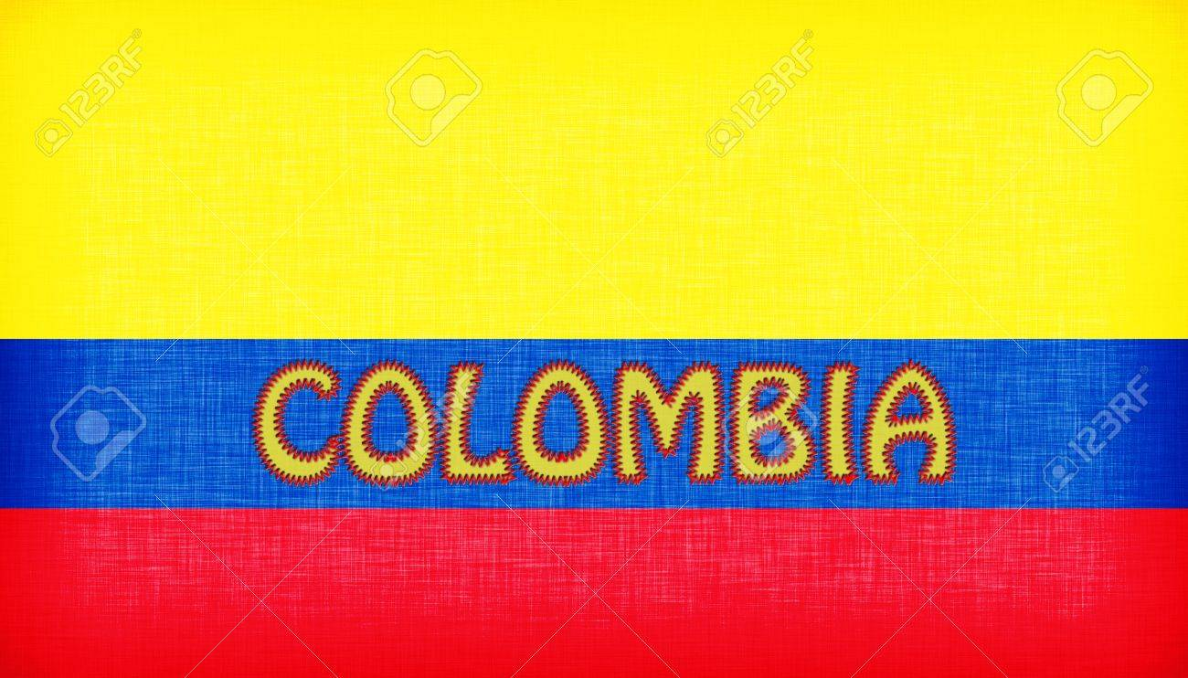 flag of colombia stitched with letters isolated stock photo 18569933