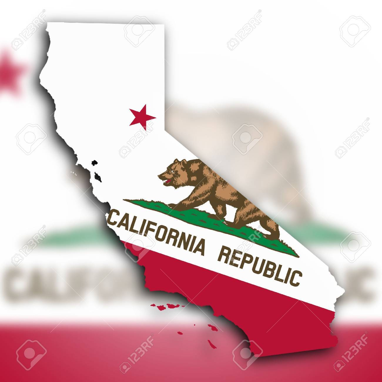 Map of California, filled with the state flag Stock Photo - 18785717