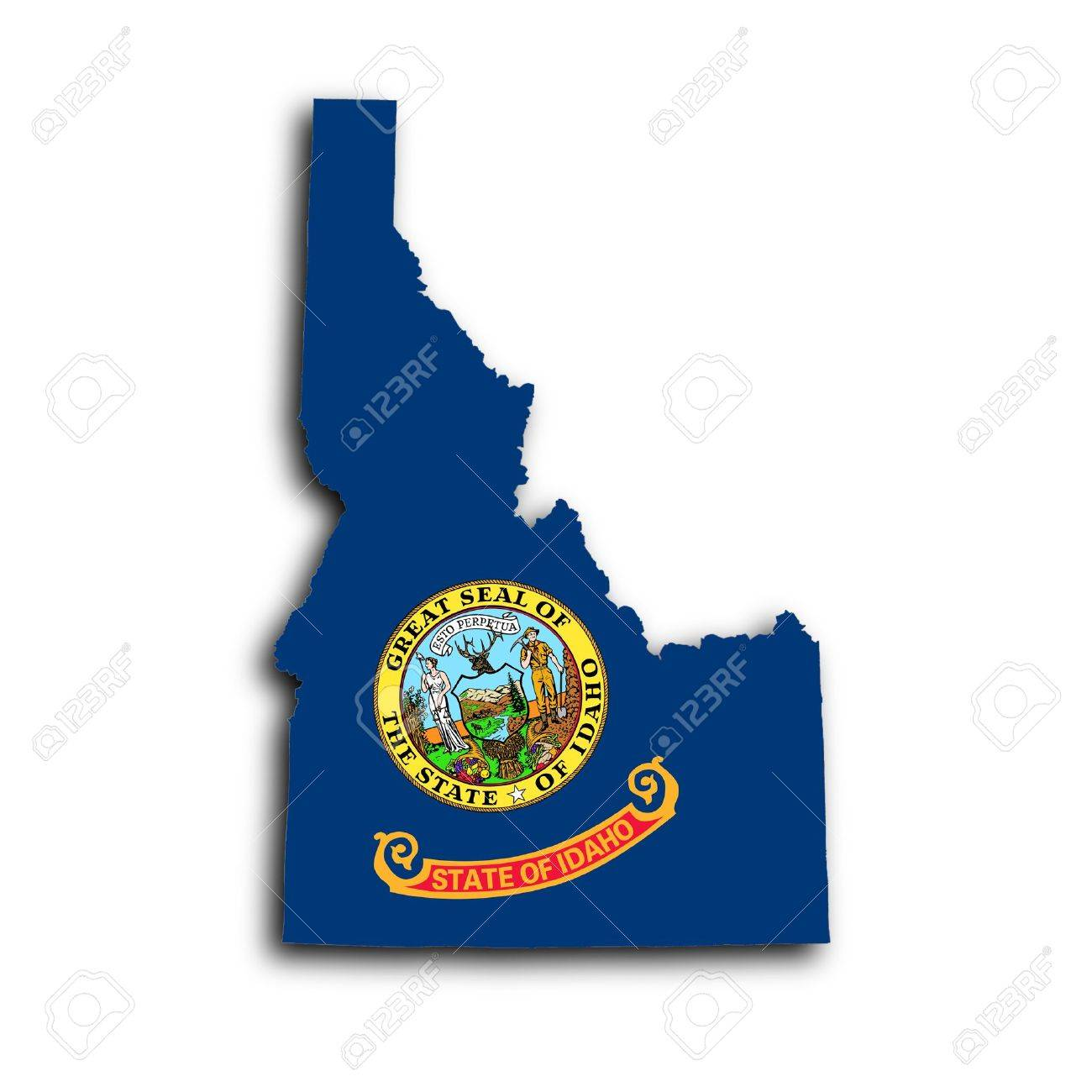 Map Of Idaho Filled With The State Flag Stock Photo Picture And - State of idaho map