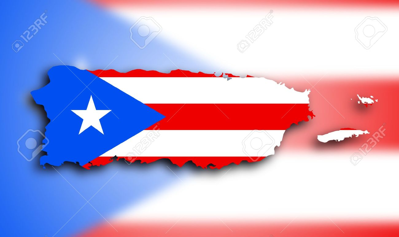 Map Of Puerto Rico Filled With The State Flag Stock Photo Picture - Puerto rico united states map