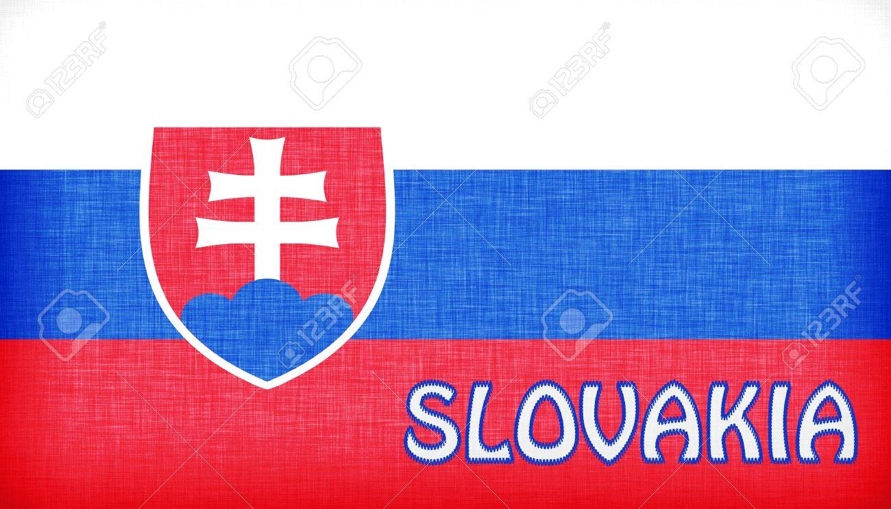 linen flag of slovakia with letters stitched on it stock photo 18993981