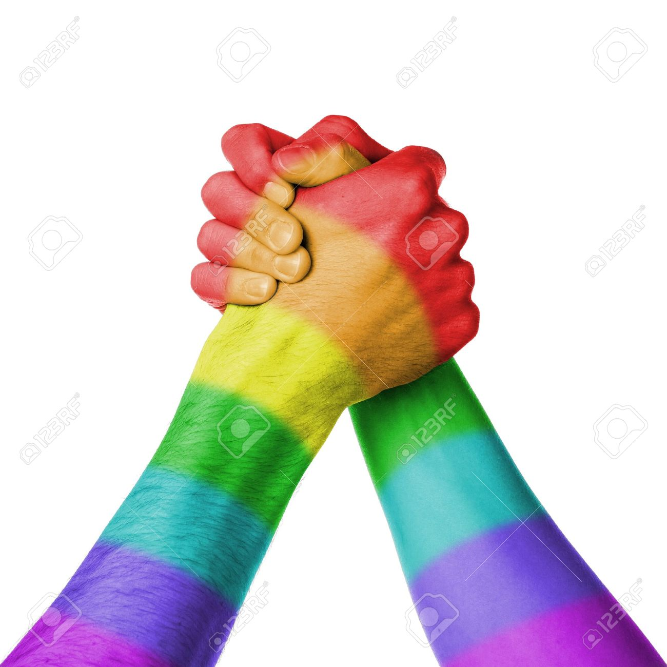 Man and woman in arm wrestlin, white background, rainbow flag pattern Stock Photo - 19321836