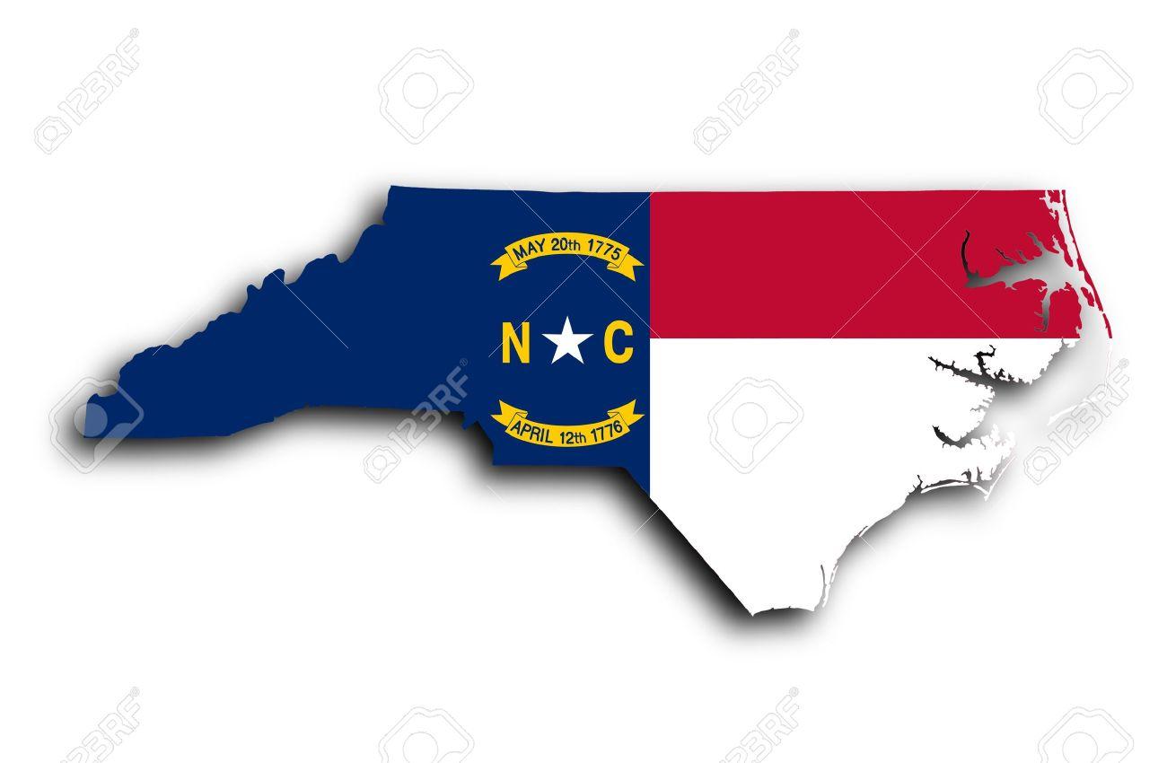 Carte de la Caroline du Nord, rempli avec le drapeau de l'Etat Banque d'images - 19321669