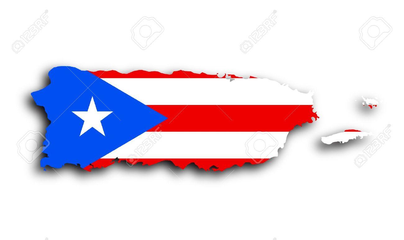 Carte de Puerto Rico rempli avec le drapeau de l'Etat Banque d'images - 19321667