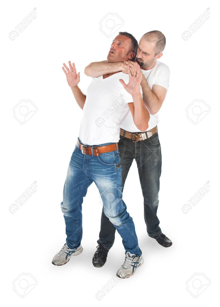 Man attacking from another man, isolated on white Stock Photo - 22875405