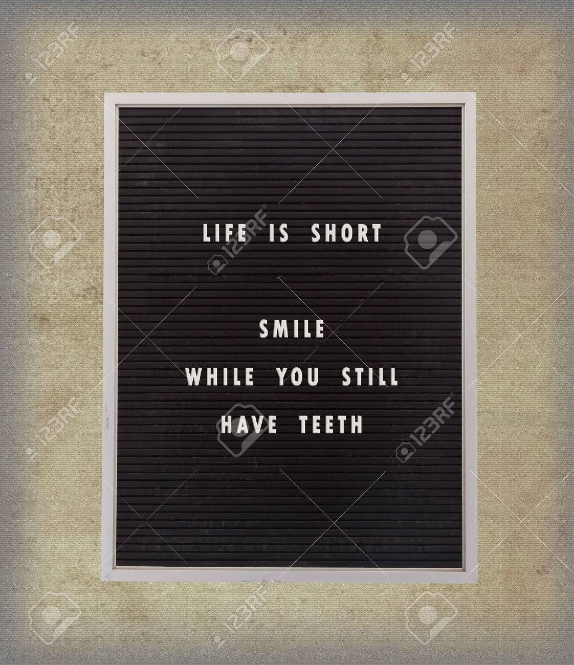 Funny Inspirational Quotation About Life On A Very Old Menu Stock