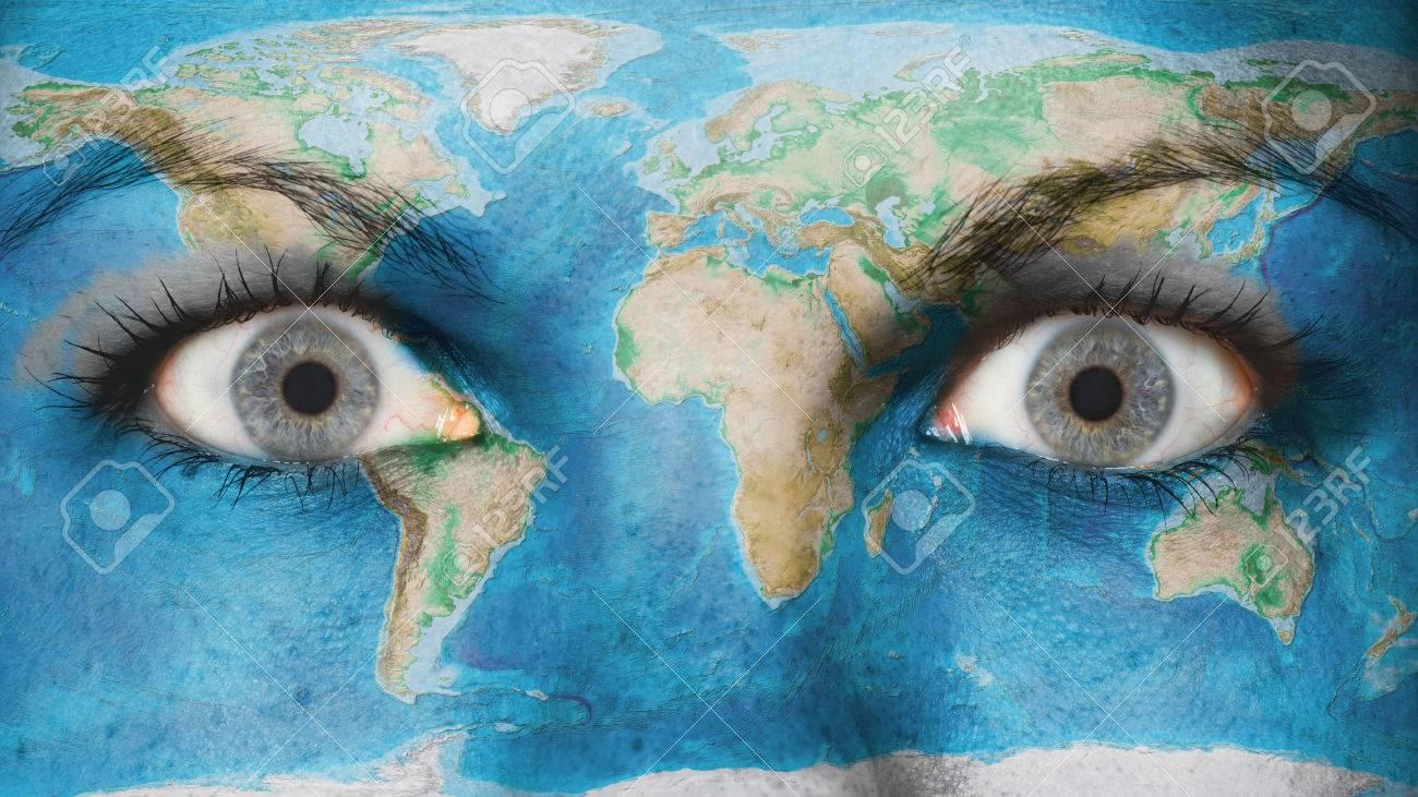 Women eye, close-up, eyes wide open, world map on eye earth, eye mind map, eye egypt, eye clock, home depot map, an old map,