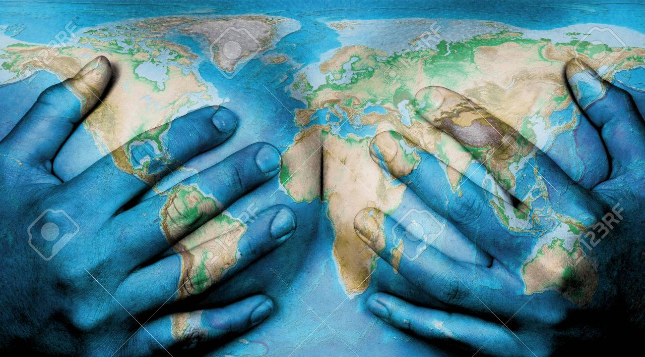 World Map On Hands.Upper Part Of Female Body Hands Covering Breasts World Map Stock