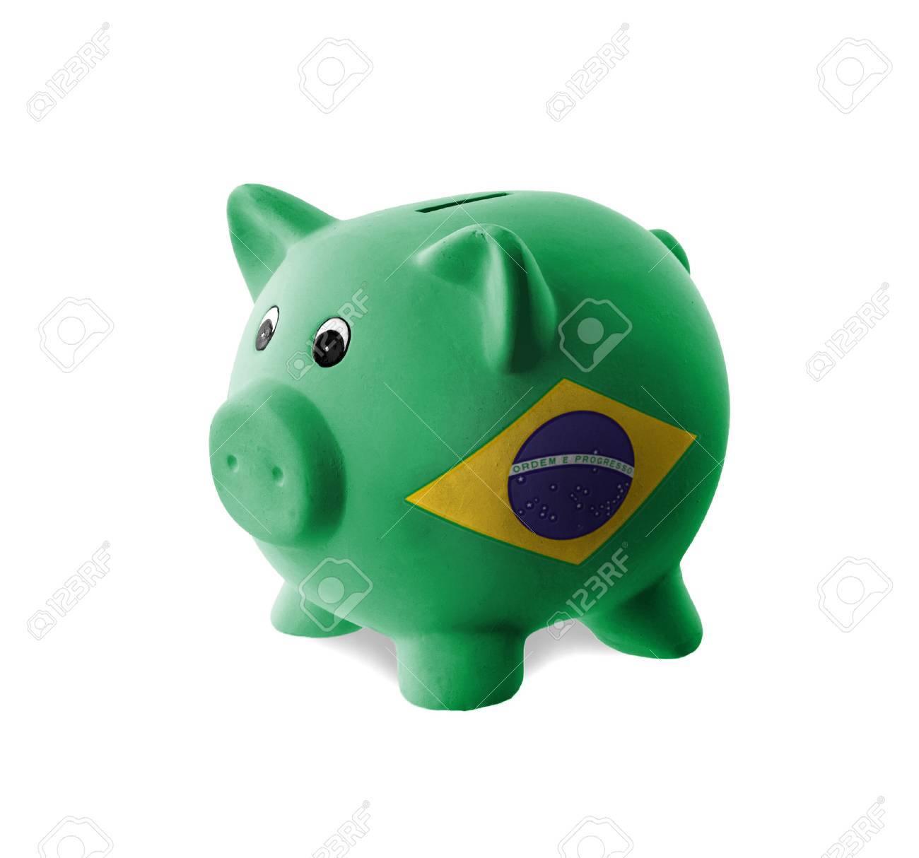 Handmade watercolor brazil flag brasil stock photos freeimages com - Brazilia Ceramic Piggy Bank With Painting Of National Flag Brazil