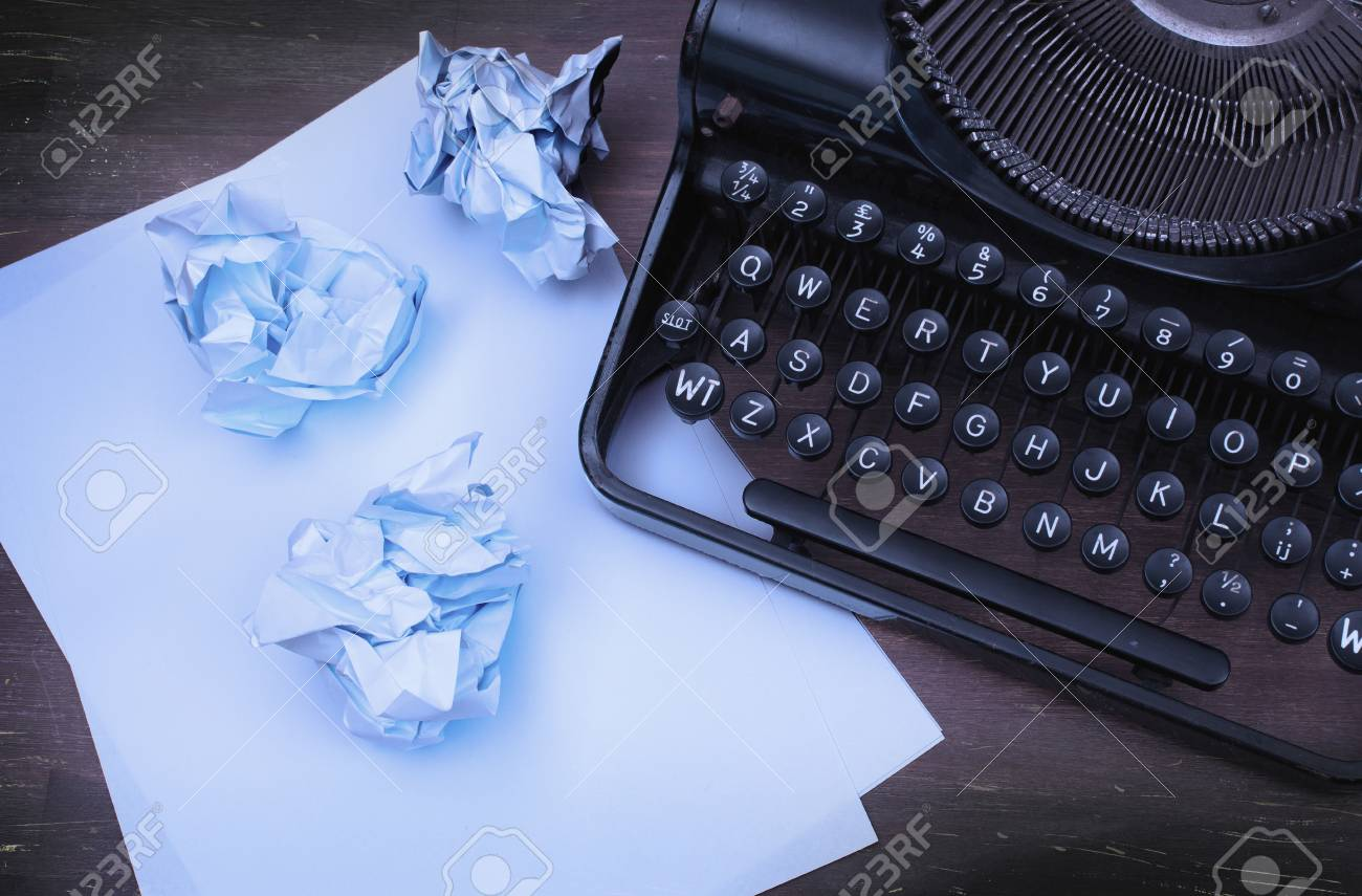 1f97bfbd Close-up of an old typewriter with paper, cool vintage look Stock Photo -