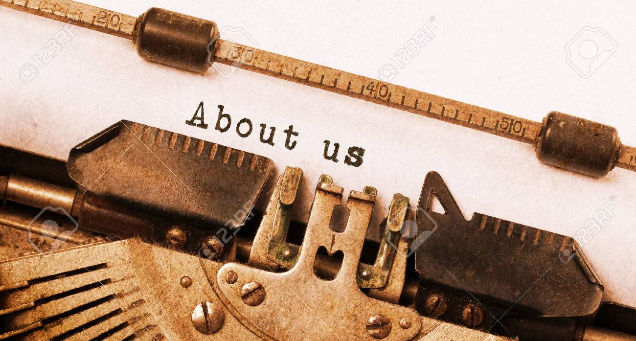 Vintage inscription made by old typewriter, about us Stock Photo - 28280546