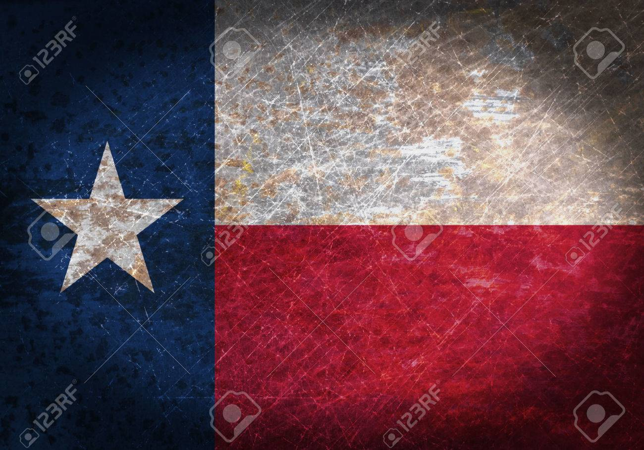 Old rusty metal sign with a flag - Texas Stock Photo - 35823237