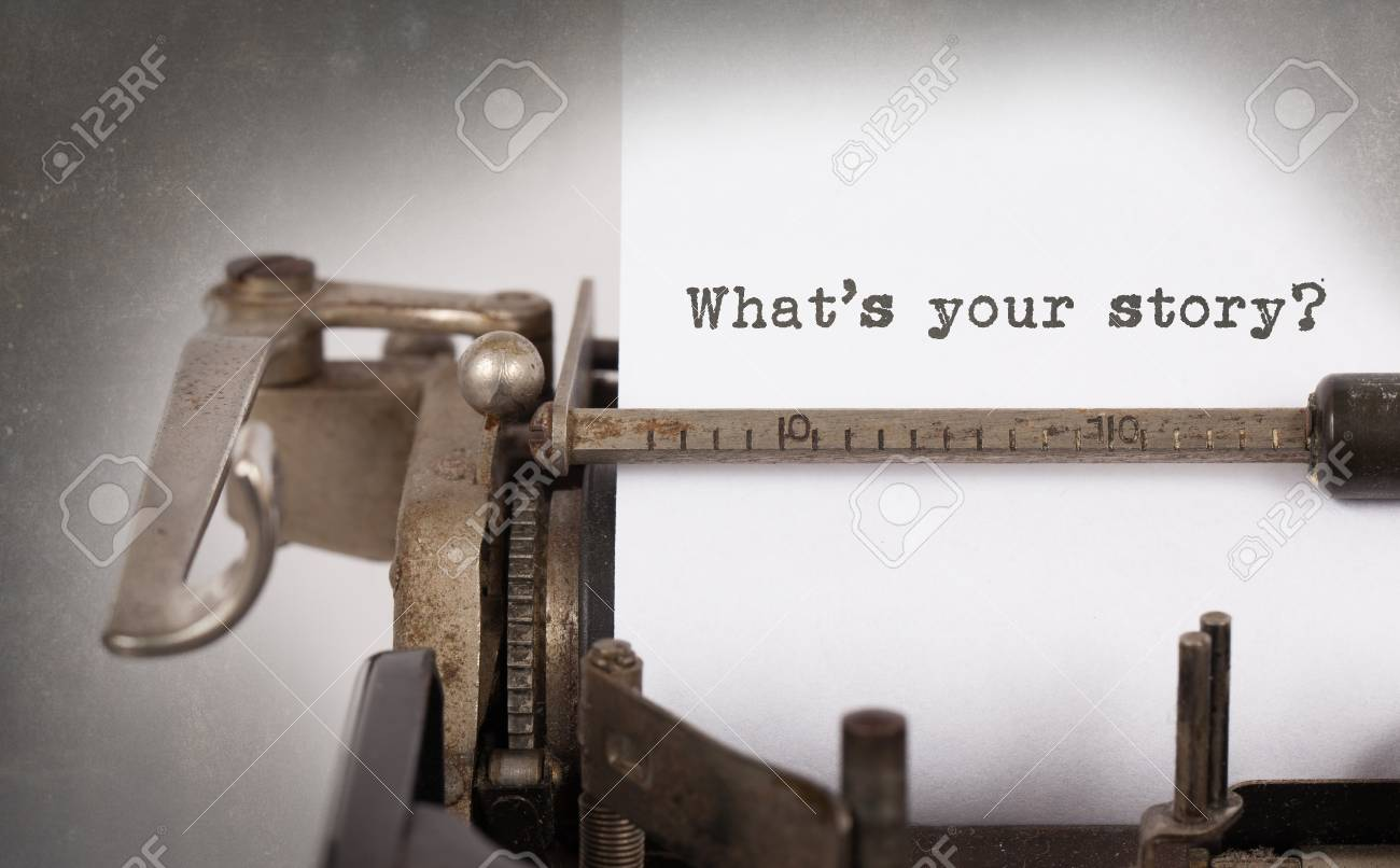 Vintage inscription made by old typewriter, What's your story Stock Photo - 36993821