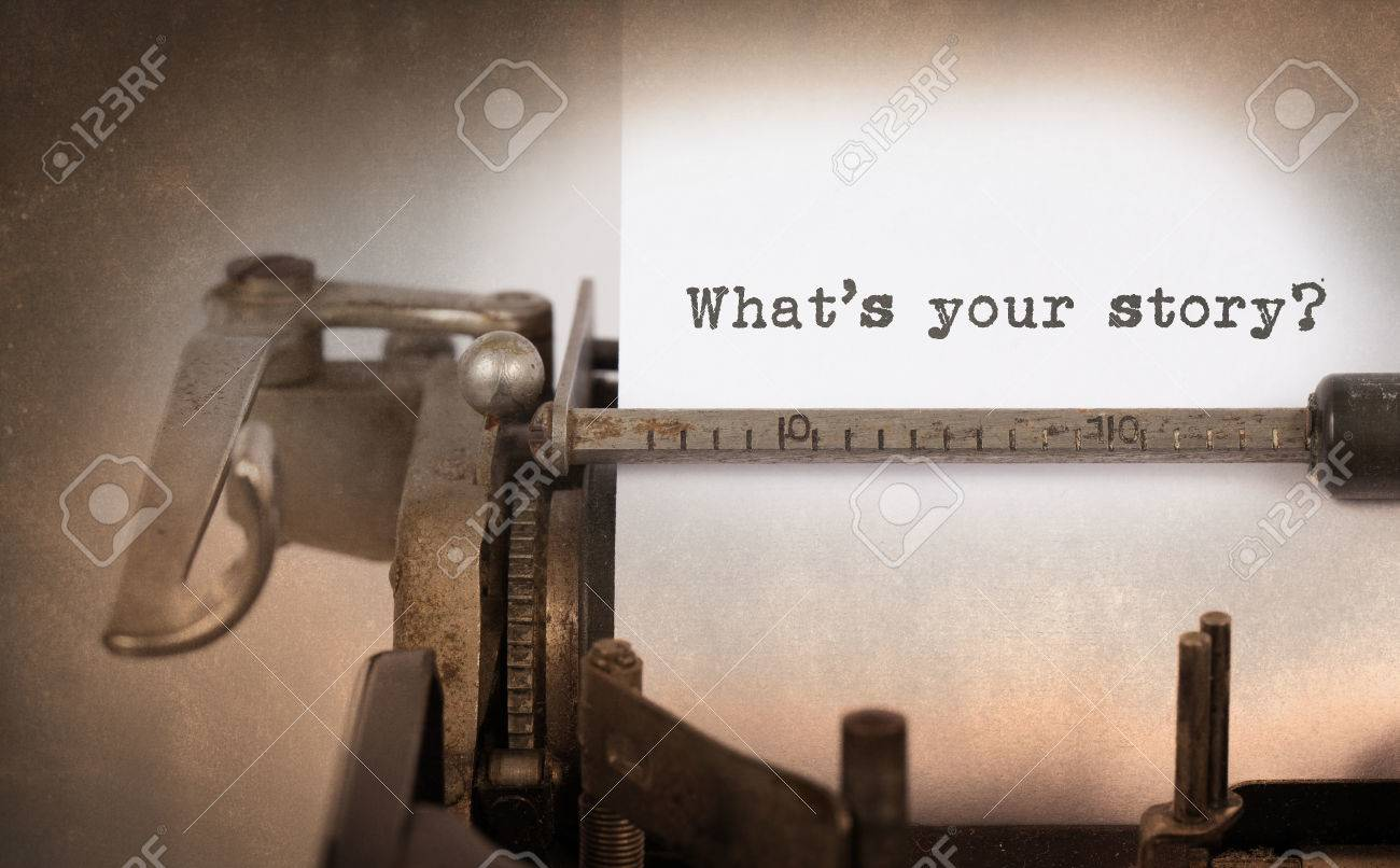 Vintage inscription made by old typewriter, What's your story Stock Photo - 37119669