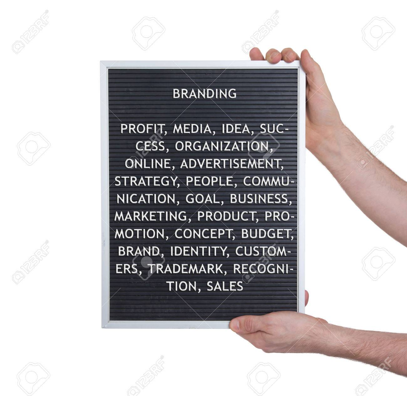 branding concept in plastic letters on very old menu board vintage look stock photo