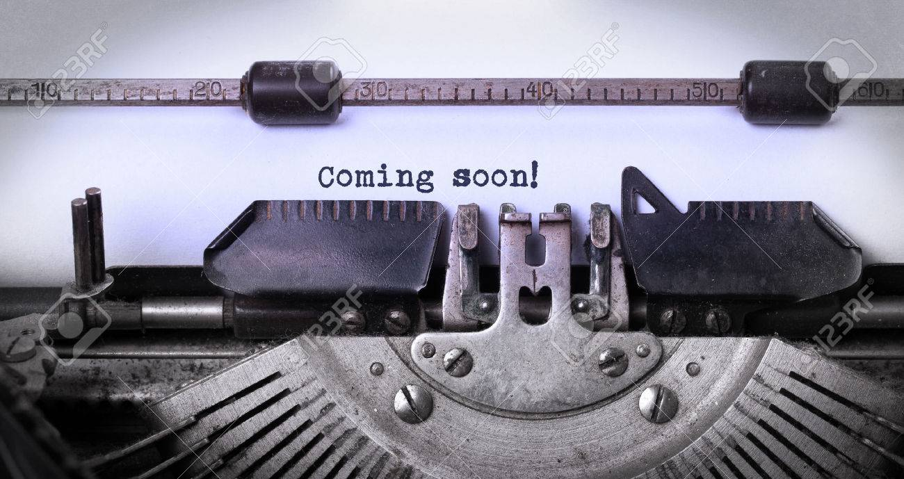 Vintage inscription made by old typewriter, coming soon Stock Photo - 37846732