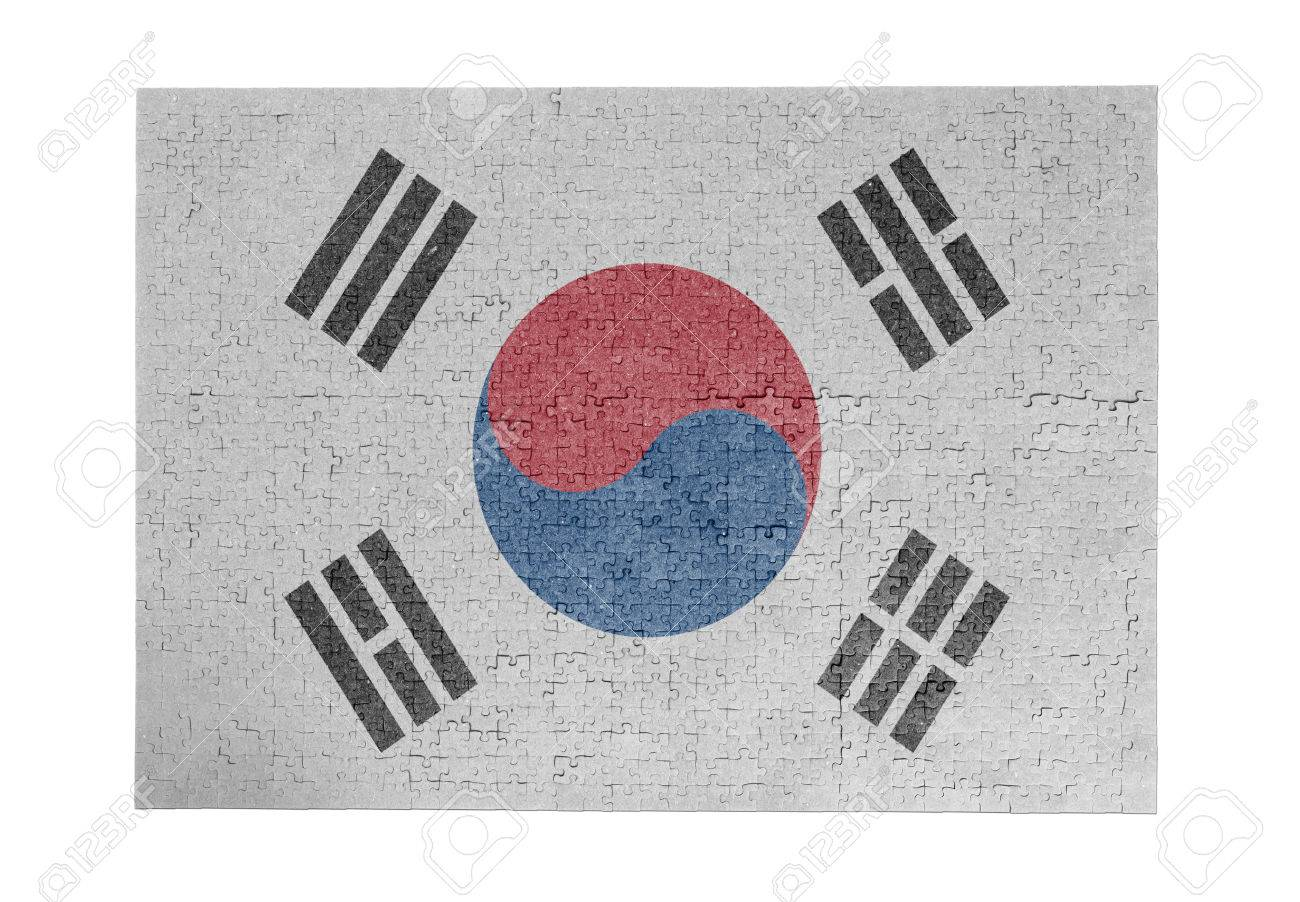 large jigsaw puzzle of 1000 pieces flag south korea stock photo