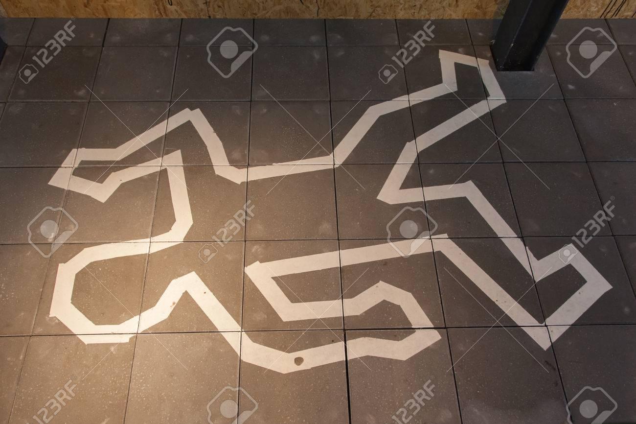 Crime scene chalk line of a body