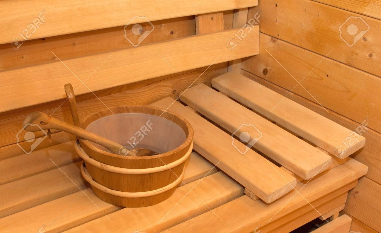 Interior of small home Finnish wooden sauna Stock Photo - 53689762