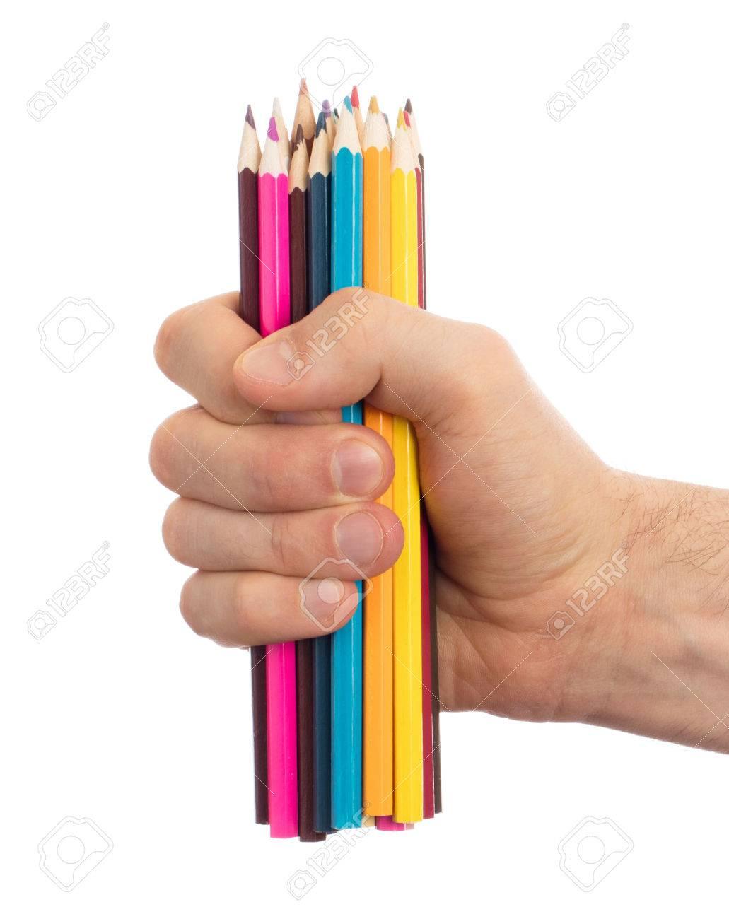 crayons d'occasion à la main isolé sur fond blanc Banque d'images - 55033701