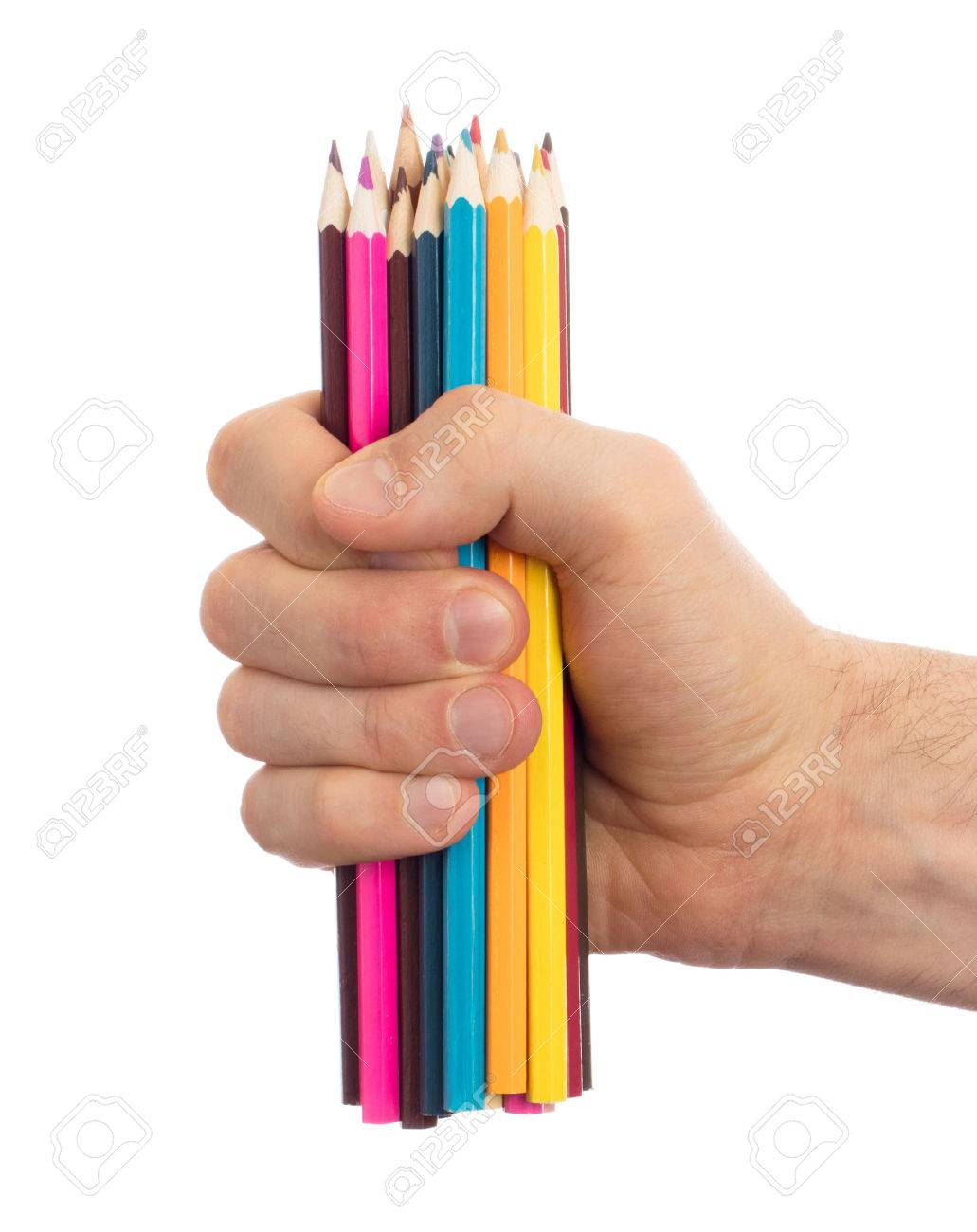Used pencils in hand isolated on white background Stock Photo - 55033701