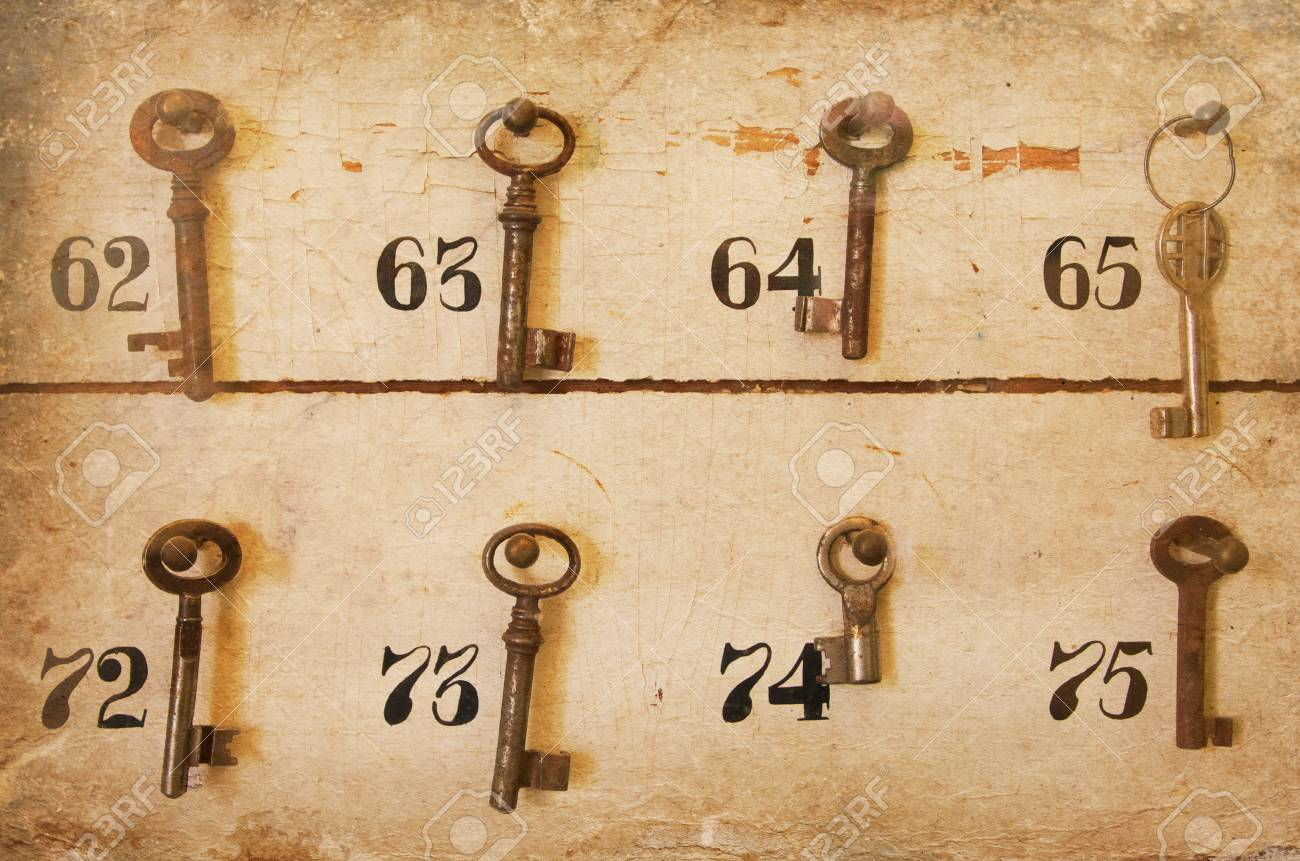 Vintage Keys With Numbers Hanging In An Old Closet Stock Photo ...