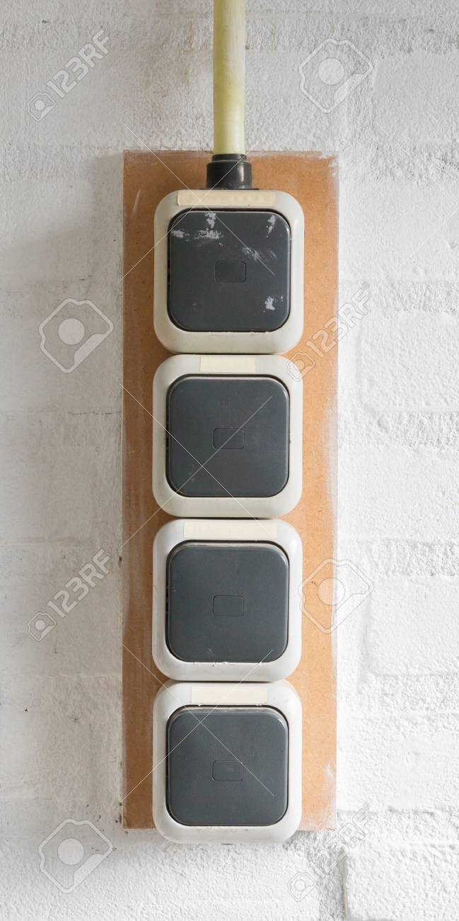 Lightswitch In A Common Garage In The Netherlands Stock Photo ...