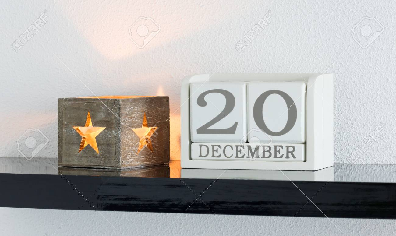 White Block Calendar Present Date 20 And Month December On