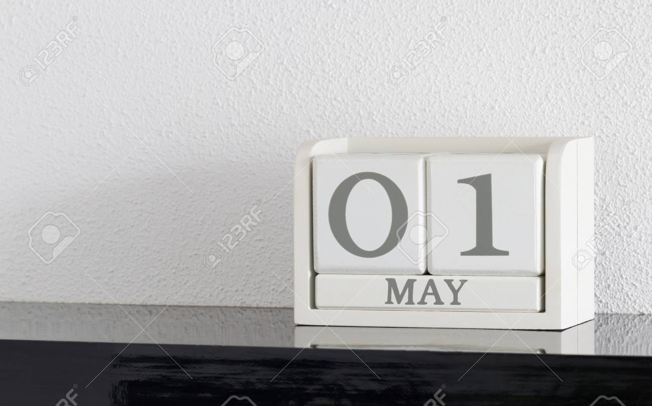 White Block Calendar Present Date 1 And Month May On White Wall