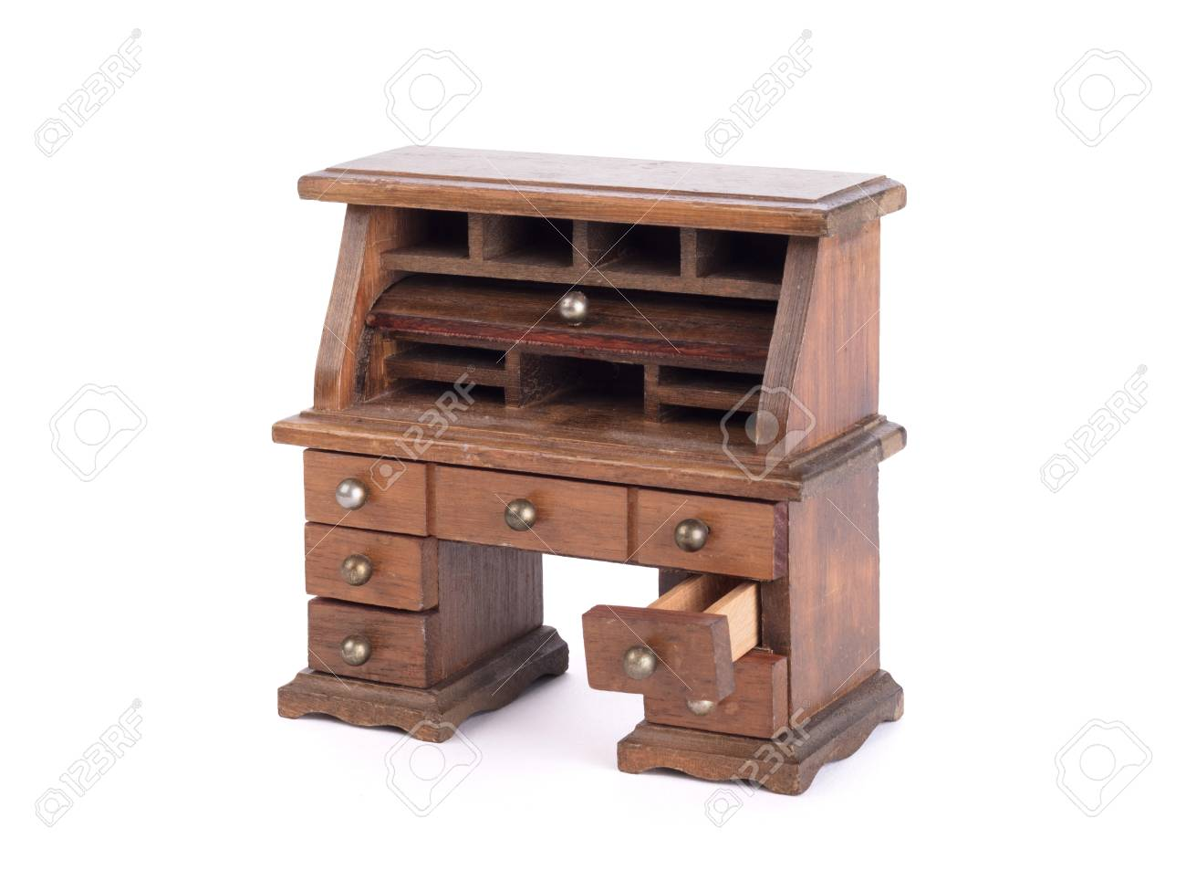 Small Vintage Wooden Desk Isolated On White Stock Photo Picture And Royalty Free Image Image 102939088