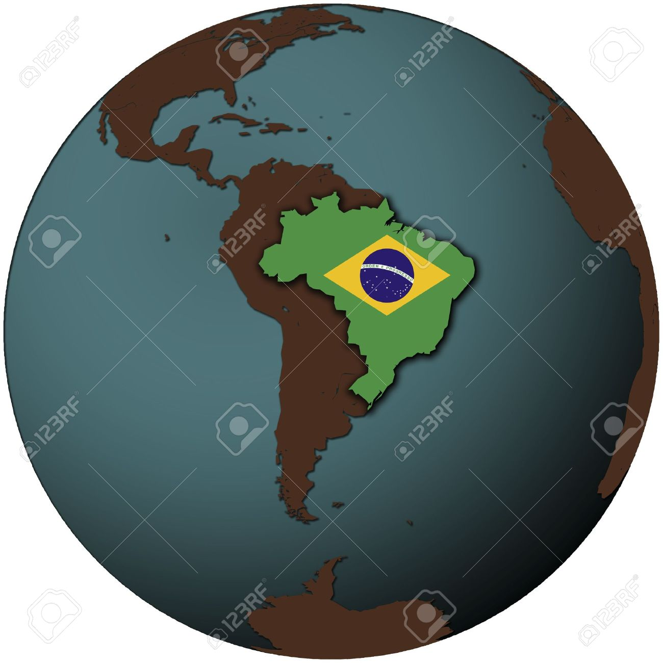 Brazil Flag On Map Of Earth Globe Stock Photo Picture And Royalty Free Image Image 6149363