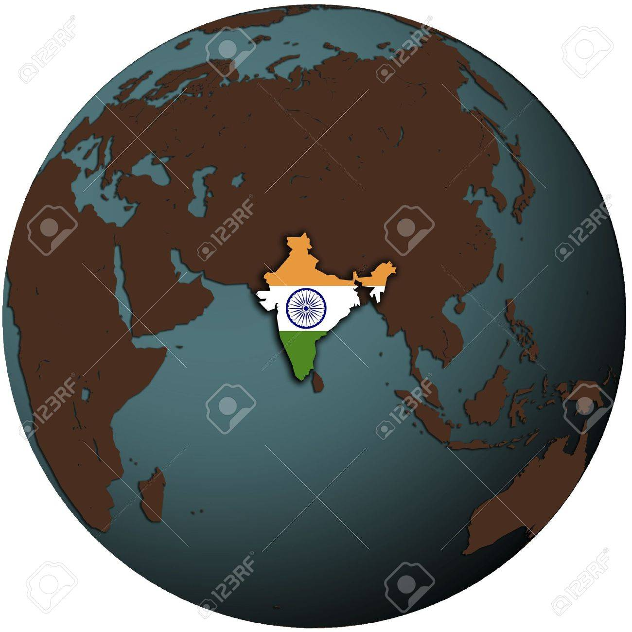 Earth Map India India Flag On Map Of Earth Globe Stock Photo, Picture And Royalty