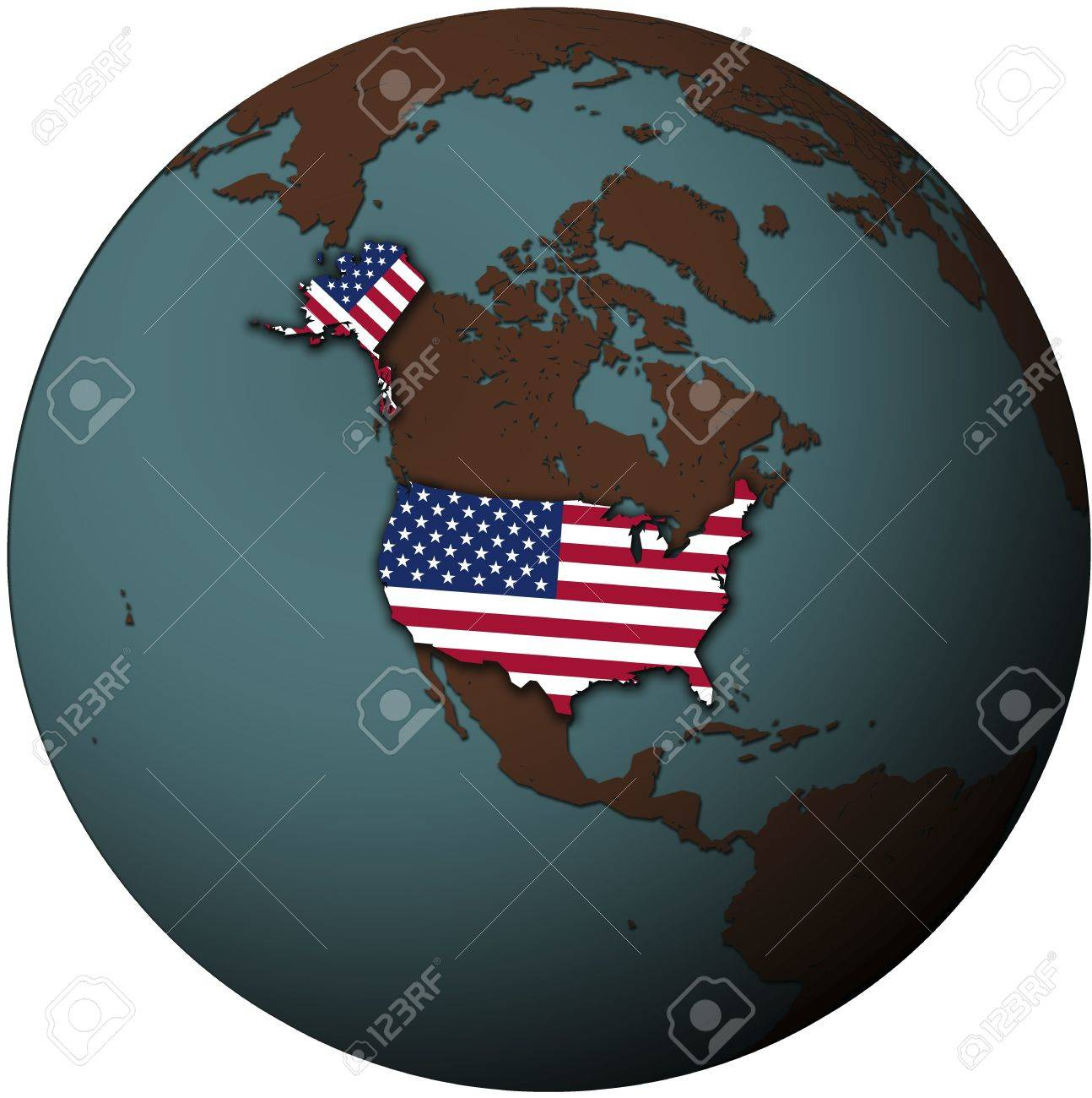 Us Map Globe.Usa Flag On Map Of Earth Globe Stock Photo Picture And Royalty Free
