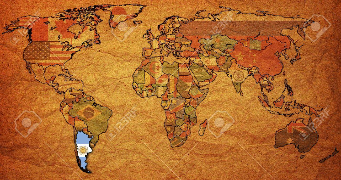 Old Political Map Of World With Flag Of Argentina Stock Photo - Argentina map in world