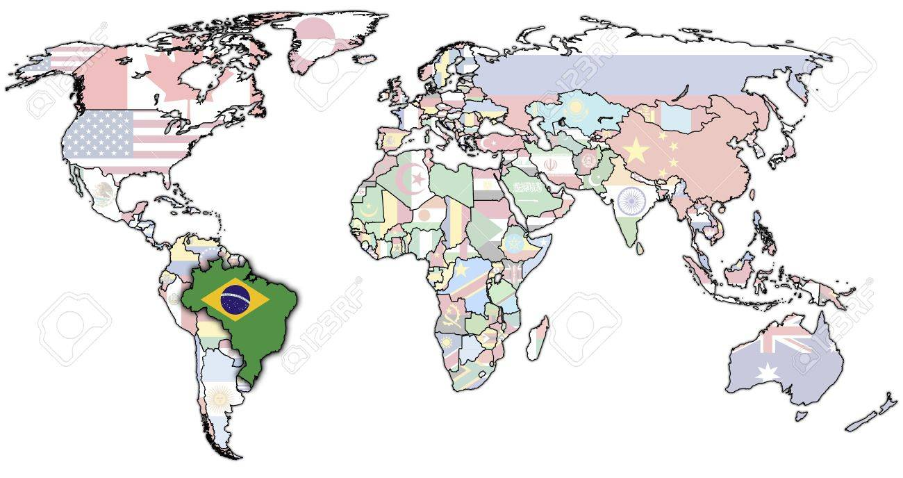 Old Political Map World With Flag Brazil Stock