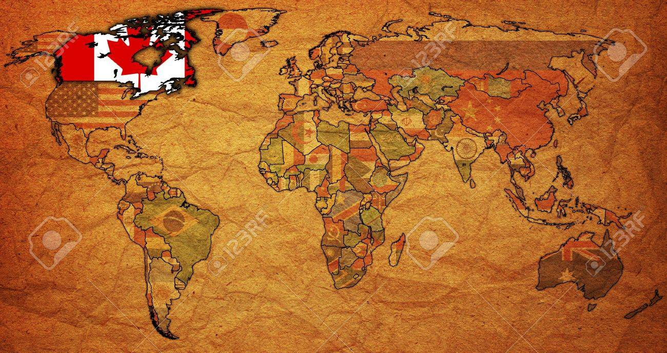 old political map of world with flag of canada stock photo