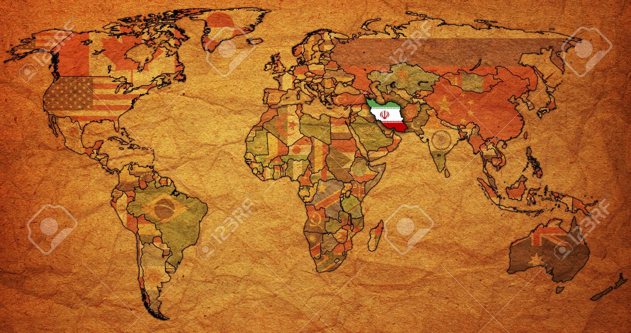 Old political map of world with flag of iran stock photo picture old political map of world with flag of iran stock photo 6636506 gumiabroncs Images