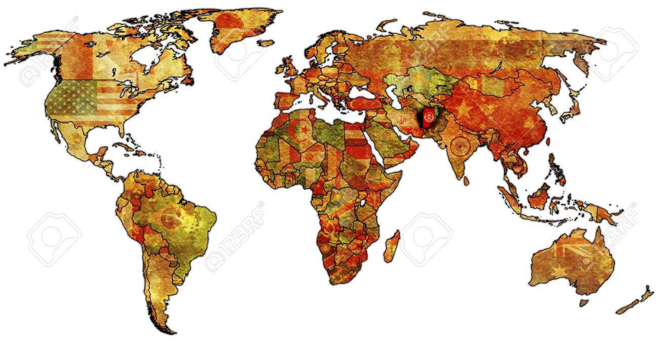 Old Political Map Of World With Flag Of Afghanistan Stock Photo - Afghanistan political map