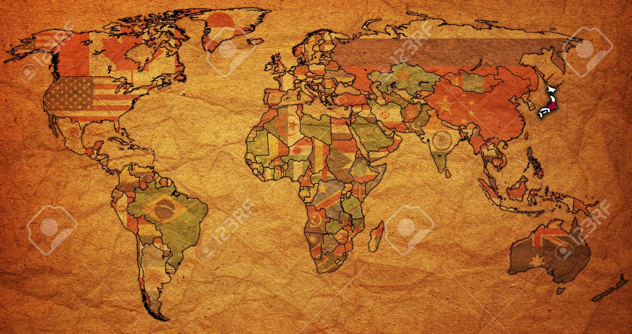 Old political map of world with flag of japan stock photo picture old political map of world with flag of japan stock photo 6791707 gumiabroncs Image collections