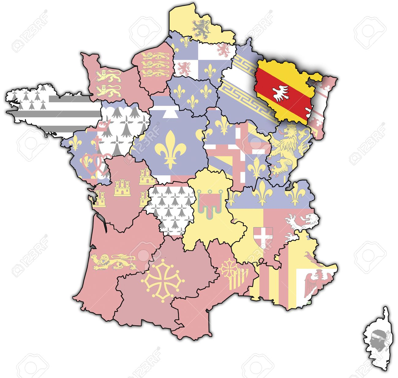 Lorraine On Old Map Of France With Flags Of Administrative Divisions