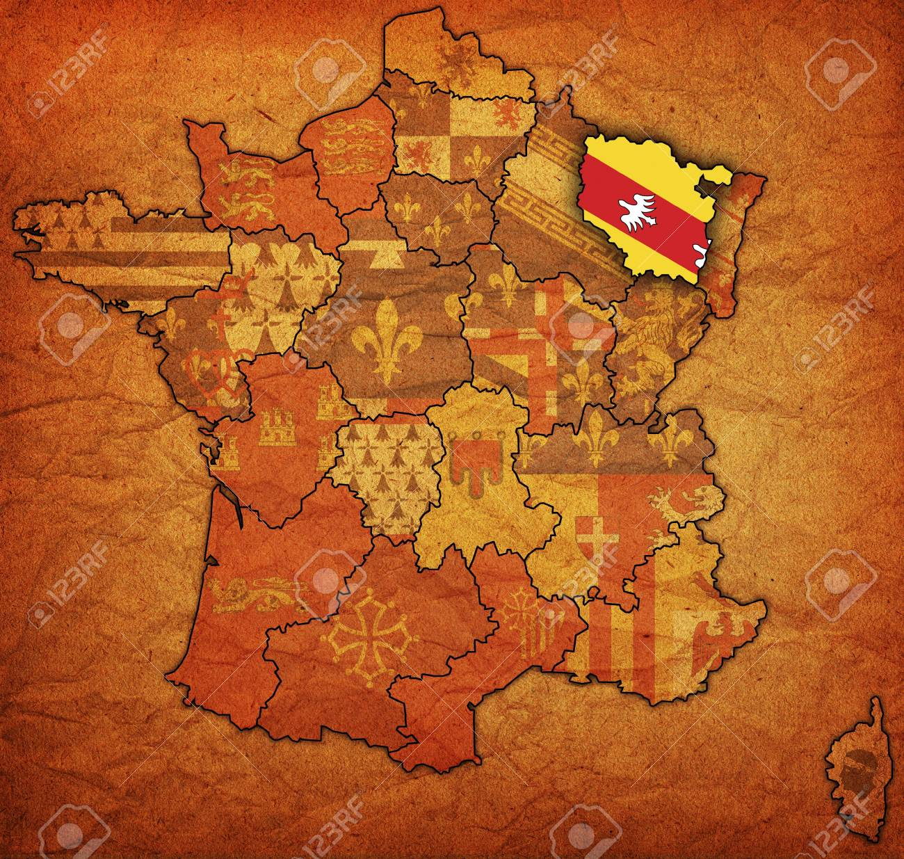 Old Map Of France.Lorraine On Old Map Of France With Flags Of Administrative Divisions