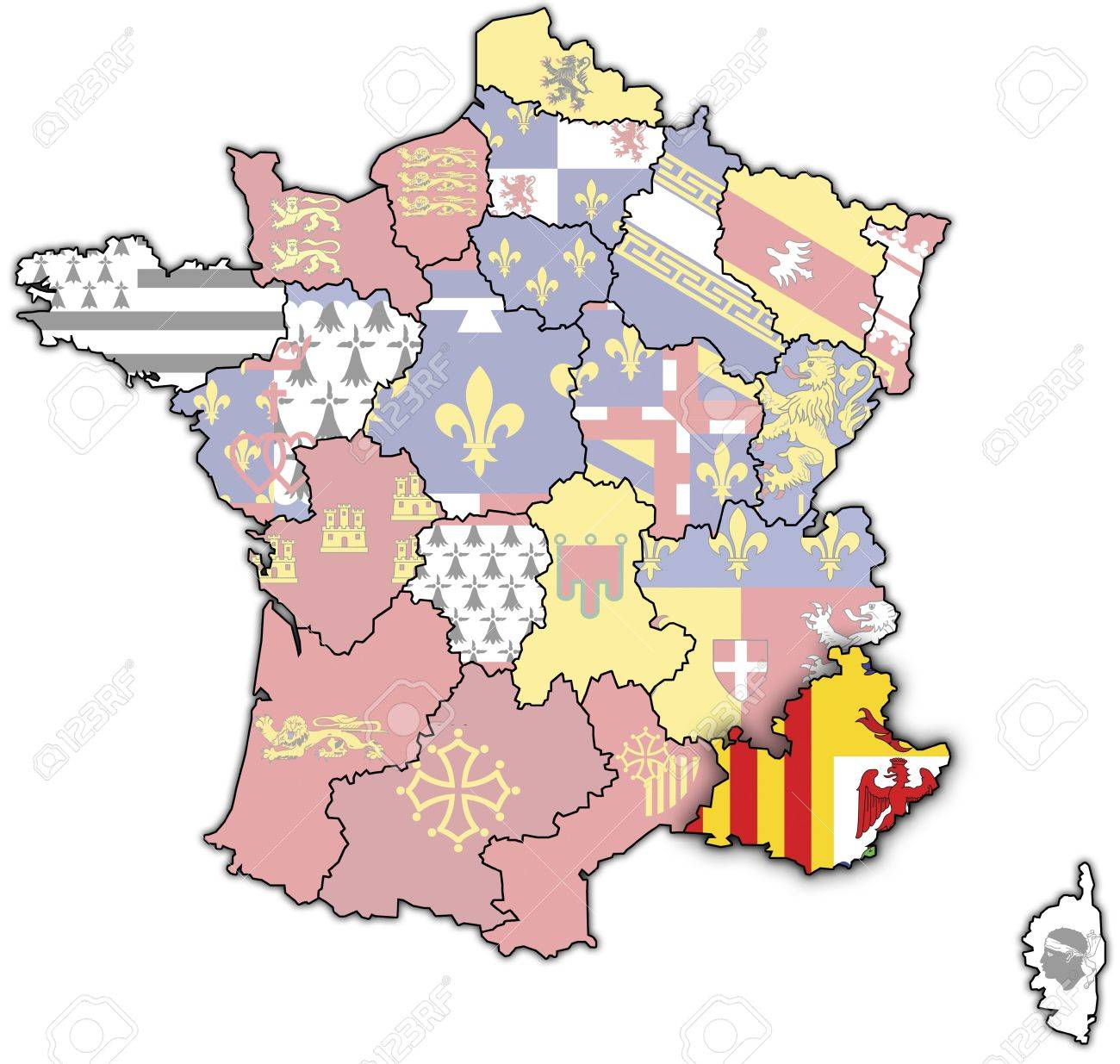 Provence Map Of France.Provence Alpes C Te D Azur On Old Map Of France With Flags Of