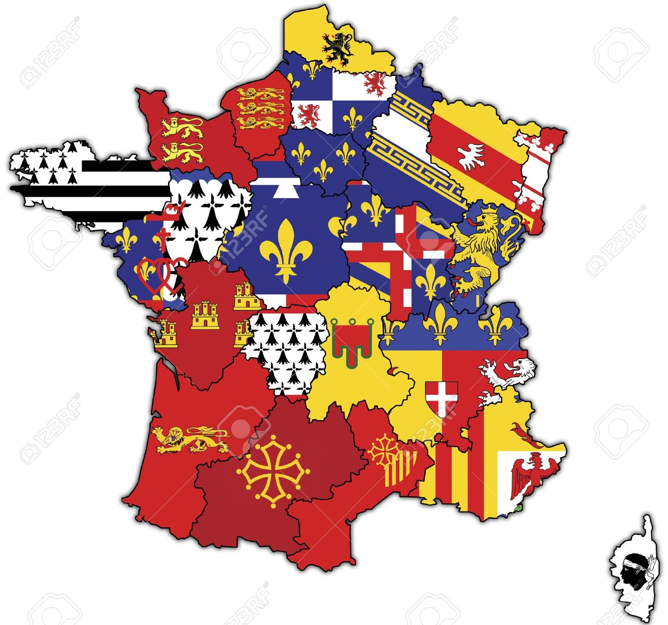 Old Map Of France With Flags Of Administrative Divisions Stock