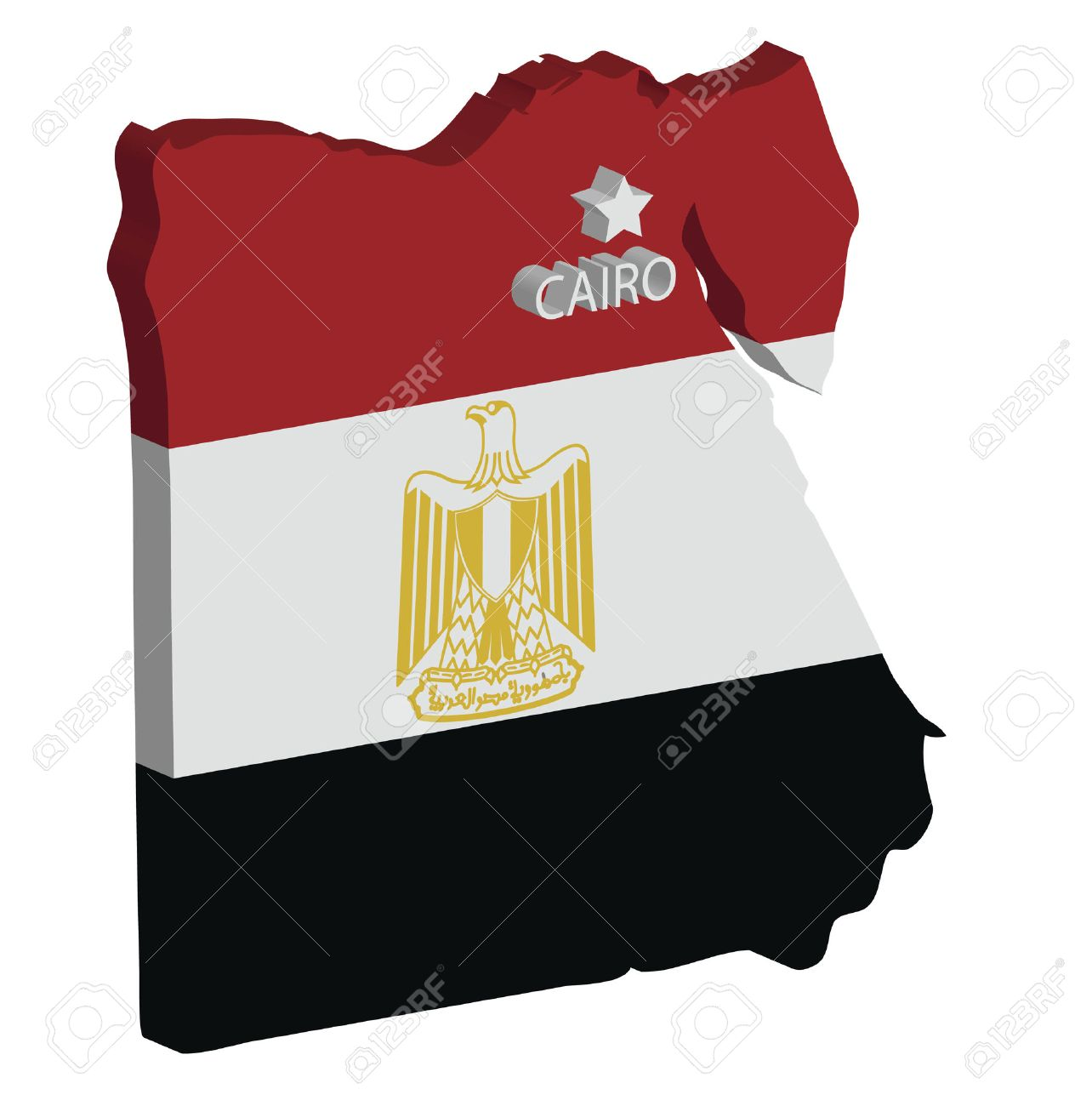 D Map Of Egypt With Flag And Capital Marked Royalty Free Cliparts - Map of egypt with capital