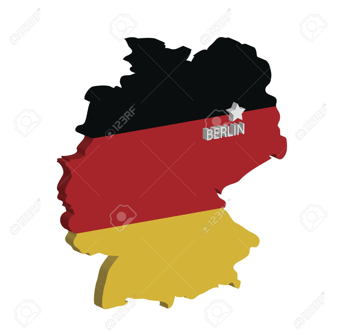 Capital Of Germany Map.3d Map Of Germany With Flag And Capital Marked