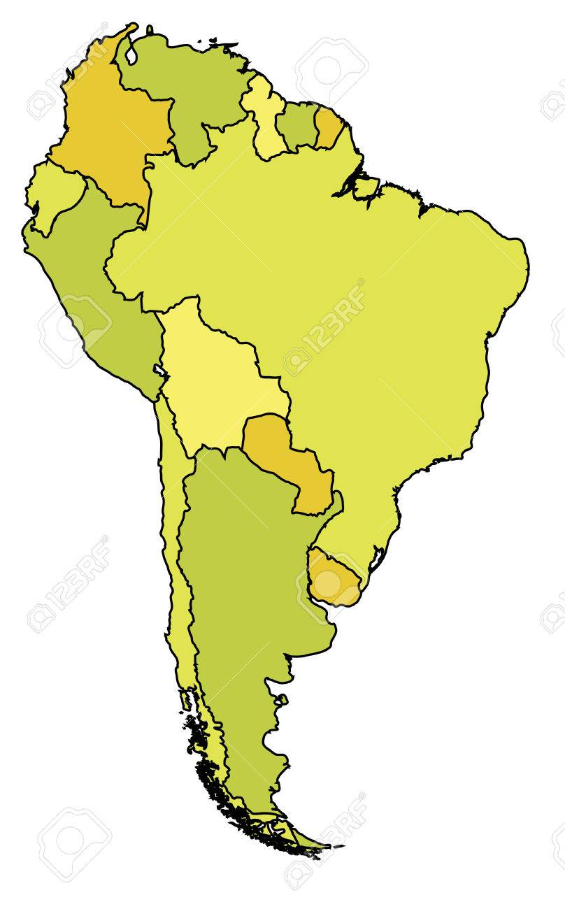 political map of south america with country territories in different colors Stock Vector - 6973658