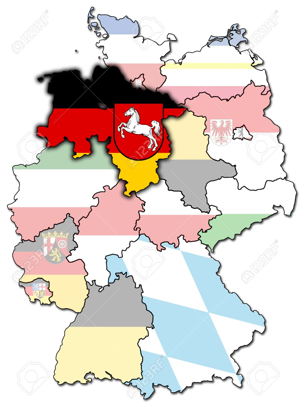 Lower Saxony On Old Administration Map Of German Provinces Stock
