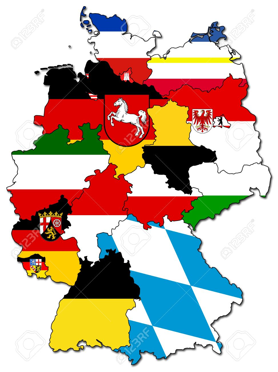 Old Administration Map Of German Provinces States Stock Photo - Germany map cartoon