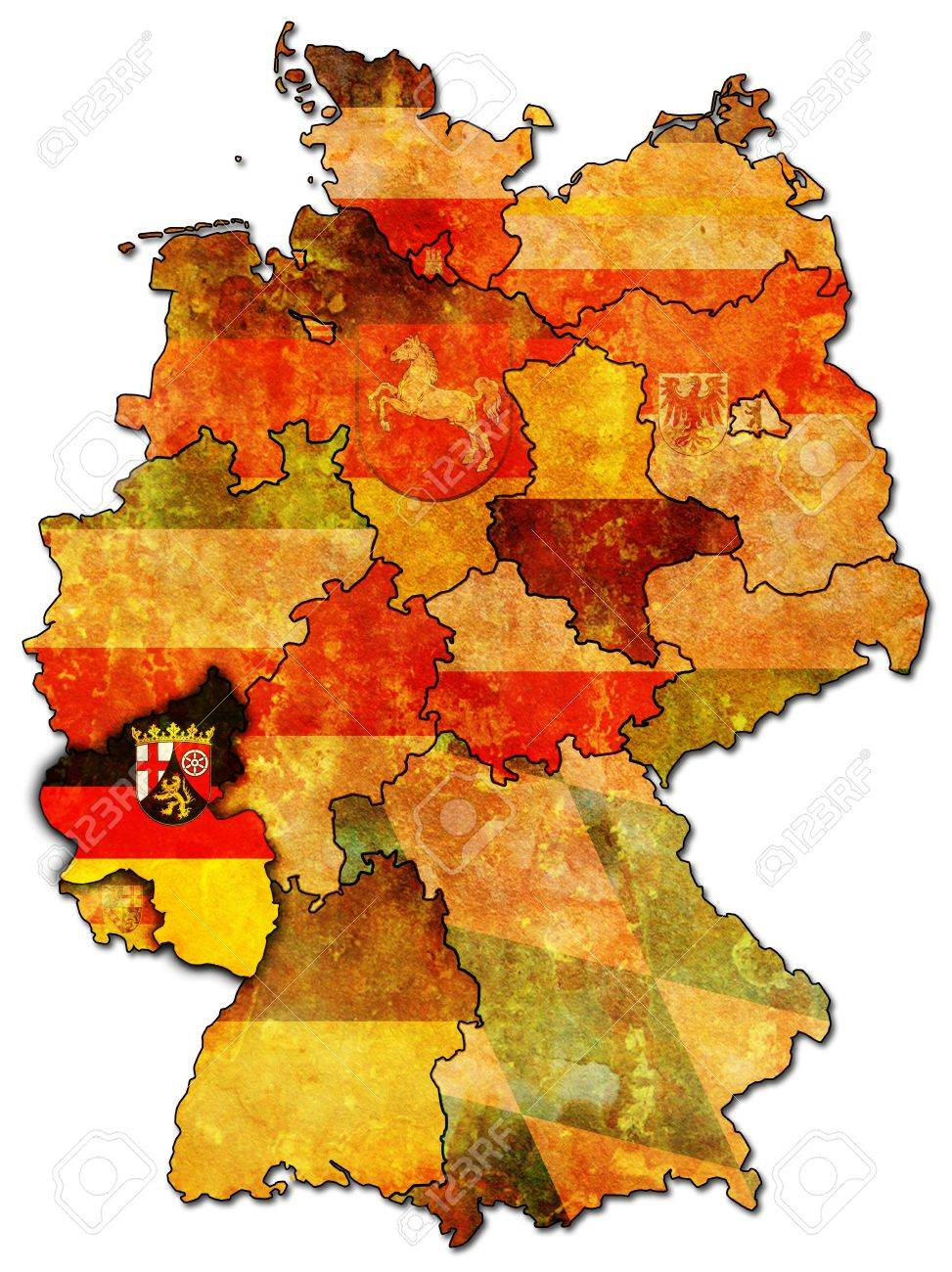 RhinelandPalatinate On Old Administration Map Of German Provinces – Map of German States
