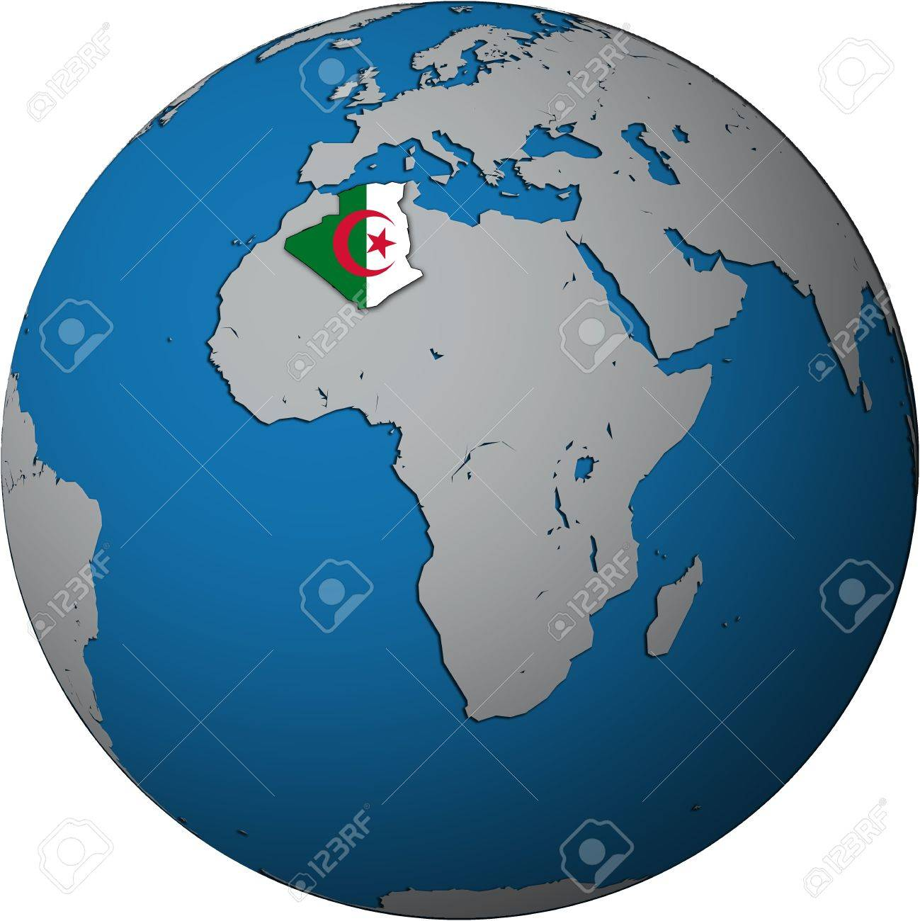 Algerie Carte Du Monde.Territoire De L Algerie Avec Drapeau Sur La Carte Du Monde